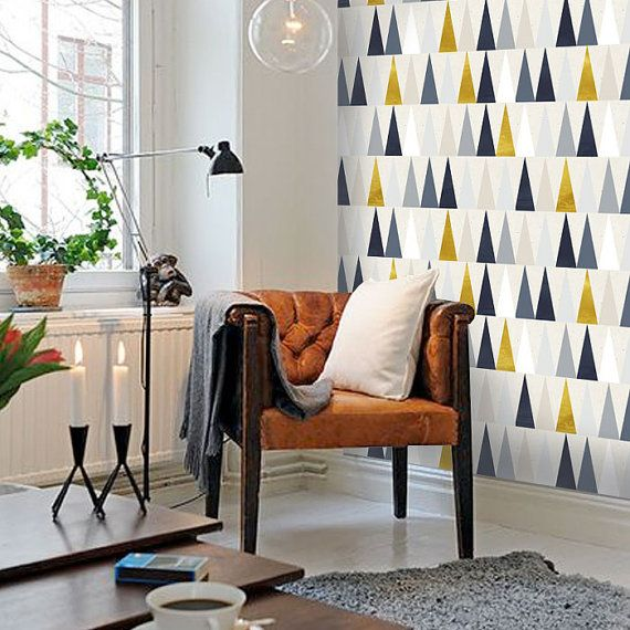Modern Triangle I Pattern PEEL & STICK Repositionable Fabric Wallpaper
