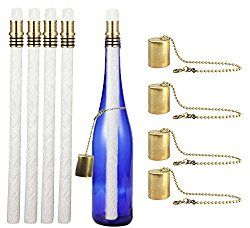 Wine Bottle Tiki Torch Kit 4 Pack by EricX Light, Includes 4 Long Life Tiki Torch Wicks ,Brass Tiki Torch Wick Holders And Brass Caps – Just Add Bottle for an Outdoor Wine Bottle Light