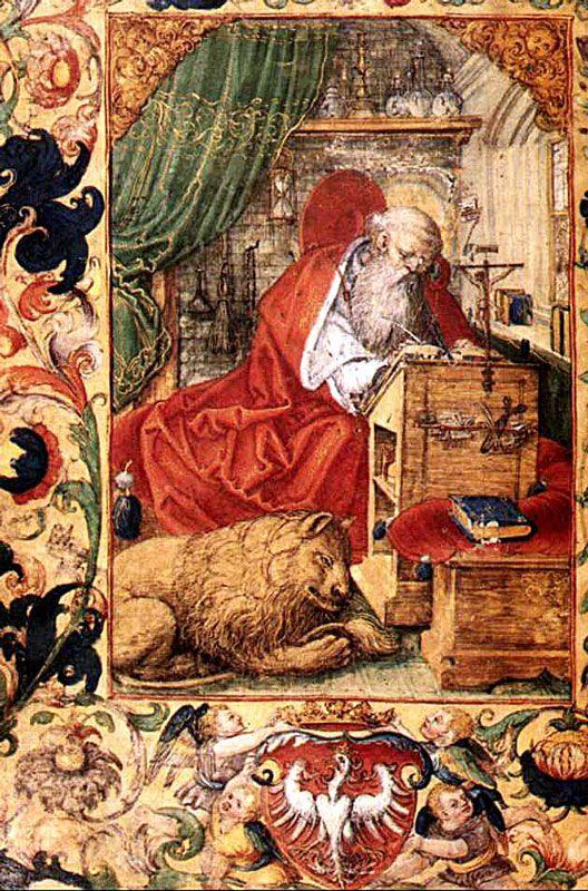 Święty Hieronim z modlitewnika Zygmunta I, 1525, Stanisław Samostrzelnik