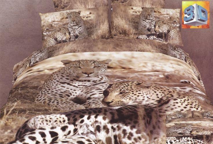 Modna beżowa pościel 3D do pokoju z gepardem