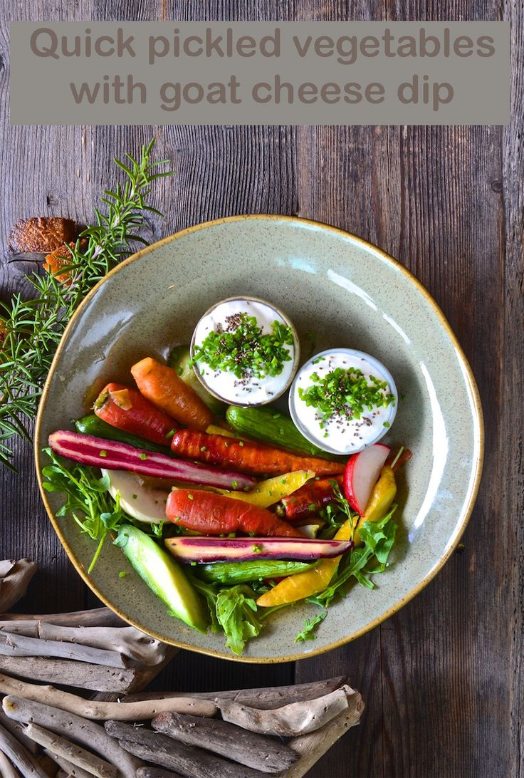 Quick pickled vegetables with goat cheese dip