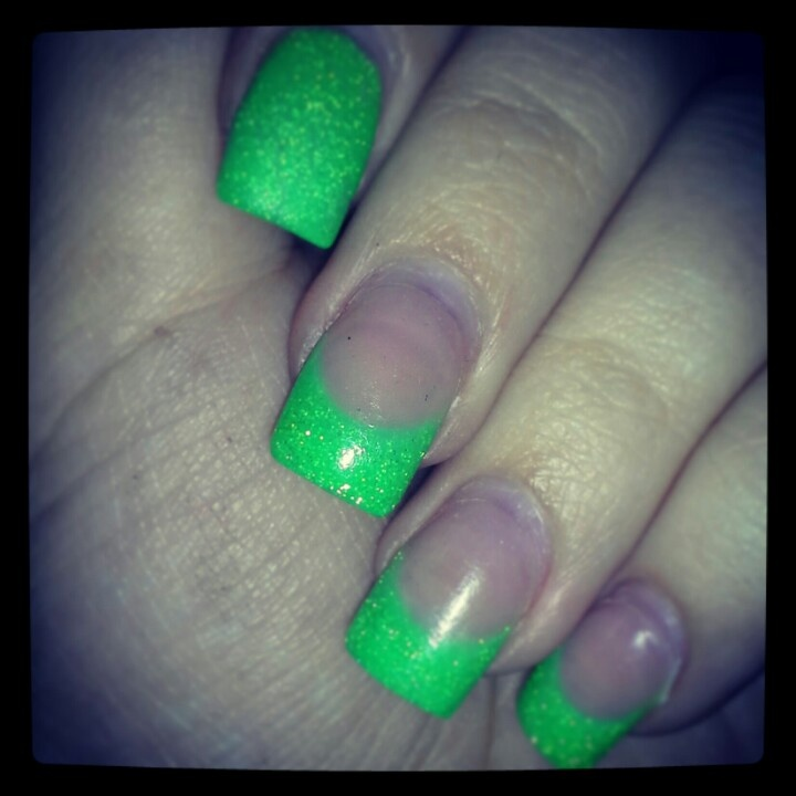 Neon Lime Green French Manicure | My Nails by Ashlea ...