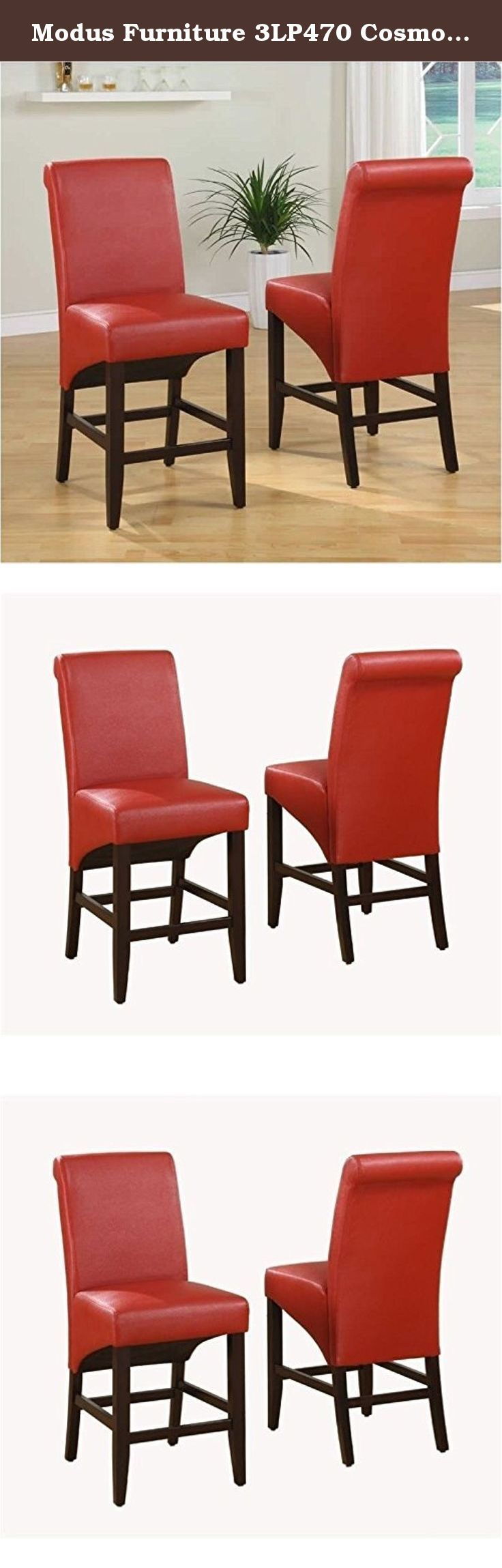 Modus Furniture 3LP470 Cosmo Sleigh Back Stools, Ruby (Set of Two). The Cosmo Sleigh Back Stool in Ruby (Set of 2) features a unique contemporary design. Constructed with no-sag seat cushions for extra comfort. 10 bolt grooved corner block construction for easy assembly and long term durability. Chair legs are constructed from solid poplar. Upholstery fabric is a supple pebble grain synthetic leather. Features 4 stretchers for maximum rigidity. In an industry dominated by varying shades…