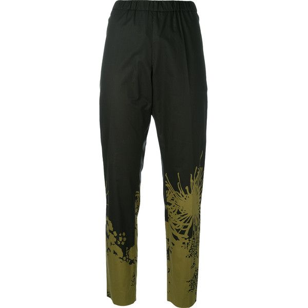 Dries Van Noten - printed tapered trousers - women - Cotton - 38 (€425) ❤ liked on Polyvore featuring pants, black, dries van noten trousers, tapered pants, cotton trousers, dries van noten and tapered fit pants