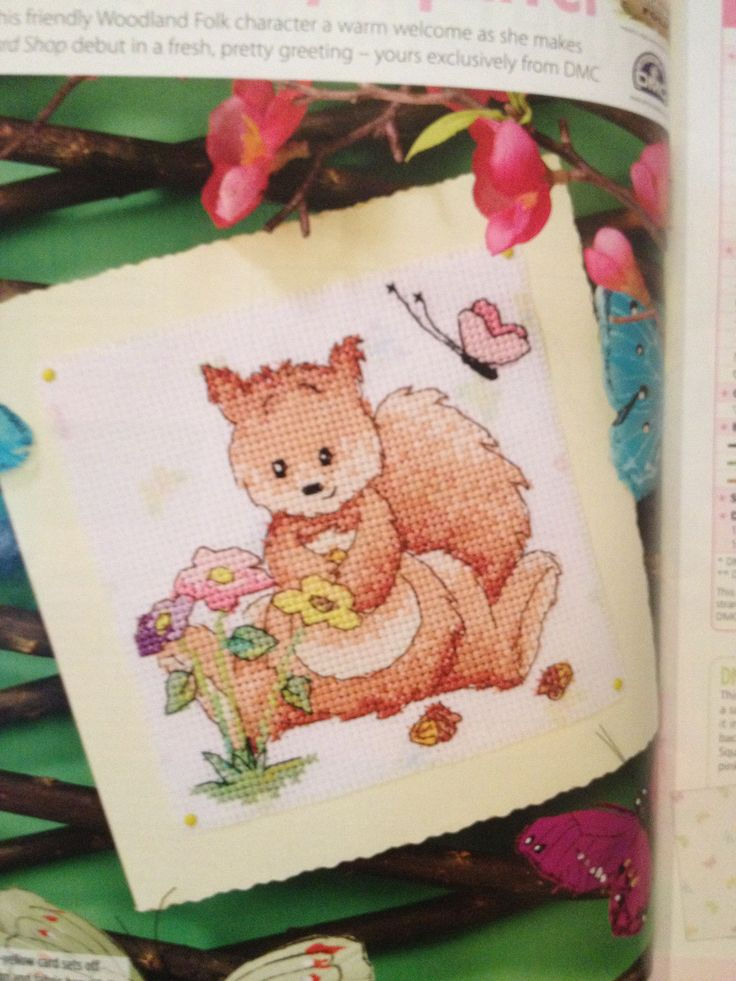 Woodland Folk Sally Squirrel Cross Stitch Card Shop Issue 77 Hardcopy