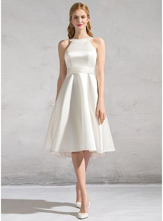 Fresh A Line Princess Scoop Neck Knee Length Satin Wedding Dress With Ruffle Bow