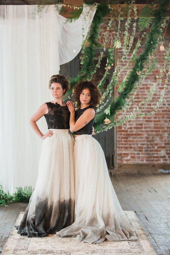 Black ombre dip-dye wedding dress separates. By sweetcarolinestyles