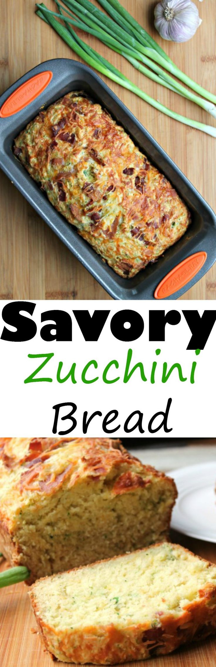 Savory Zucchini Bread (w/ bacon, garlic & cheese)