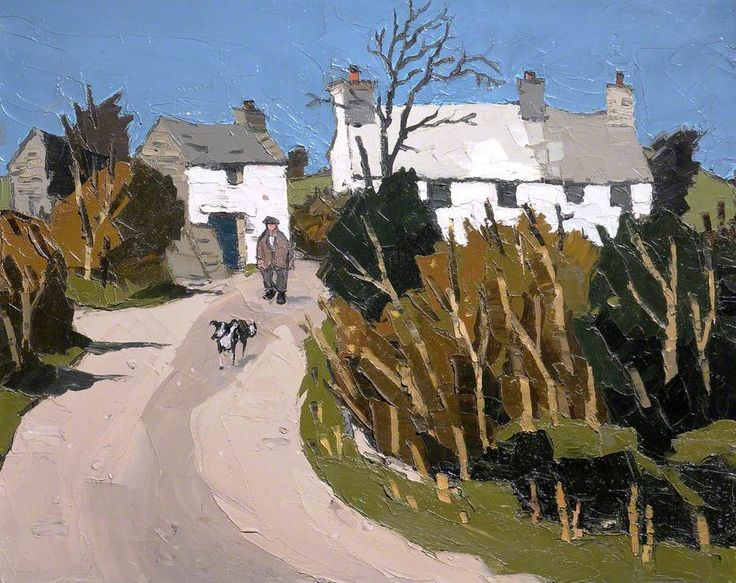 Sir John Kyffin Williams: 'Farm, Llanddona', c.1958 (Welsh,1918-2006) He lived at Pwllfanogl, Llanfairpwll on the Island of Anglesey. Williams is widely regarded as the defining artist of Wales during the 20th century (Wikipedia)