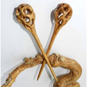 """""""Sphere"""" - Hairsticks by OakForest Woodwork (Russia). Handmade. Materials: Oak wood, linseed oil. Size of Hairsticks - 15x2,7 cm."""