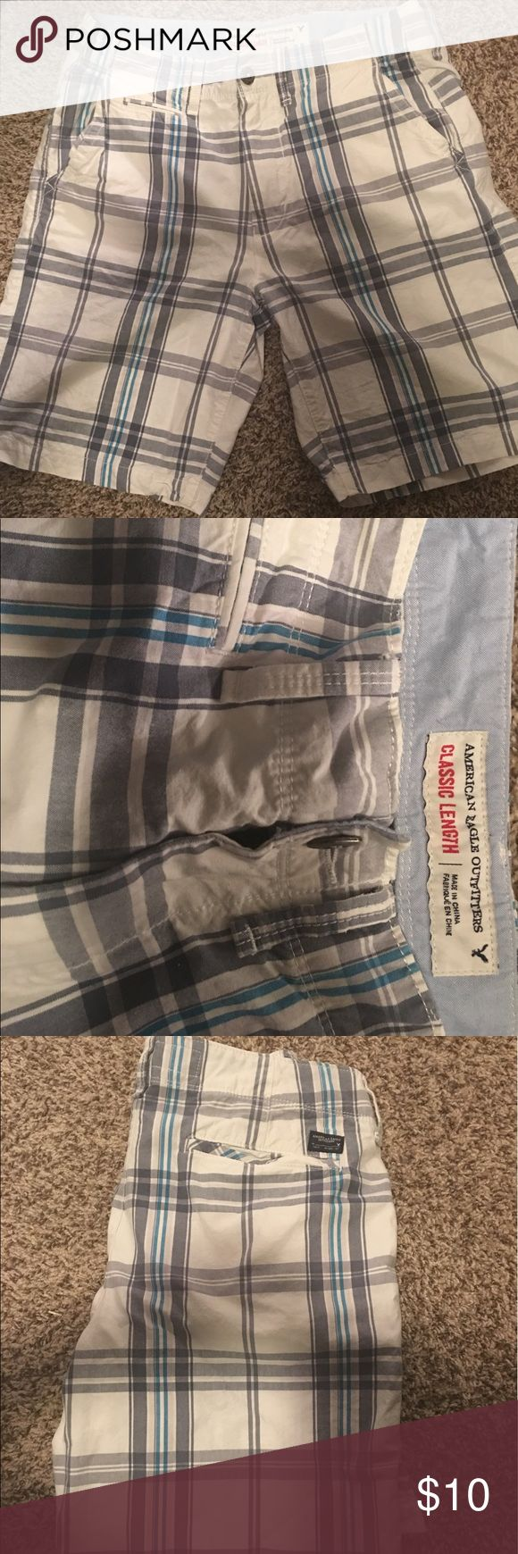 EUC! American Eagle Men's plaid shorts 33 waist From my personal collection bought and worn only a few times because they were too tight on me. They are in excellent condition. American Eagle Outfitters Shorts Flat Front