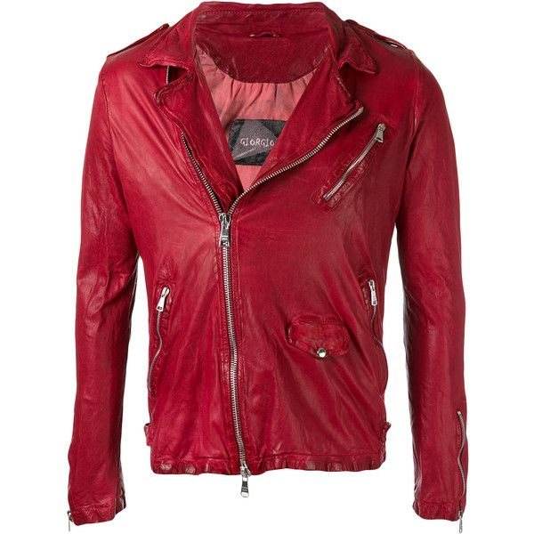 Giorgio Brato moto jacket (25,950 MXN) ❤ liked on Polyvore featuring men's fashion, men's clothing, men's outerwear, men's jackets, red, mens leather biker jacket, mens leather jackets, mens leather moto jacket, mens red leather biker jacket and mens red leather jacket