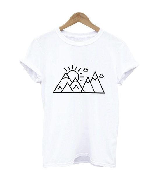 mountains tee mountain t shirt shirt adult sun clouds adventure unisex travel graphic design tee hiking shirt black maroon grey white tee - White T Shirt Design Ideas