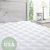#4: Mattress Pad with Fitted Skirt  Extra Plush Topper Found in Marriott Hotels  Made in the USA Queen