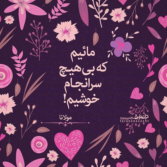مولانا ⚫ مولوی ⚫  مائیم که از بادهٔ بیجام خوشیم هر صبح منوریم و هر شام خوشیم گویند سرانجام ندارید شما..... مائیم که بیهیچ سرانجام خوشیم  #ترانه_بنفش #مولانا