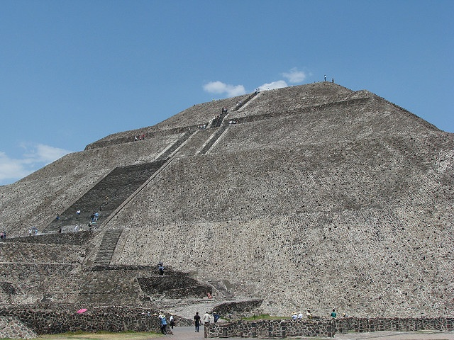 Aztec Sun pyramid in  teotihuacan Mex. Good luck claiming those stairs .. And coming back down .. Talk about steep