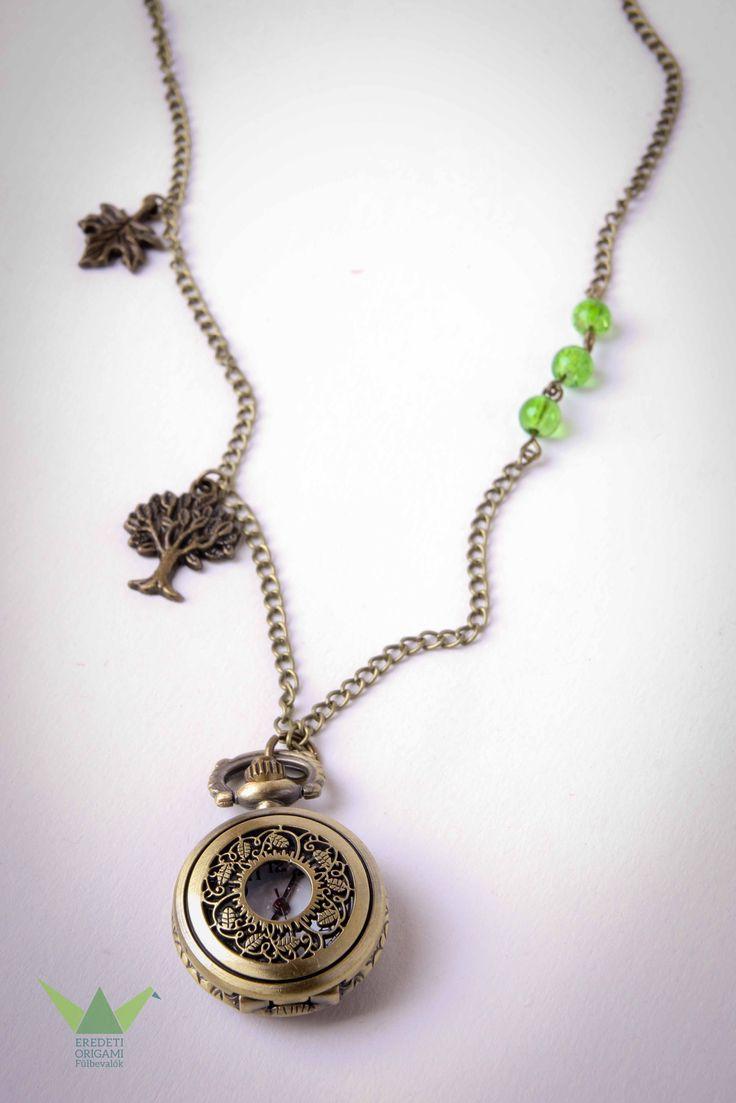 green, tree, leafe, necklace pocket watch