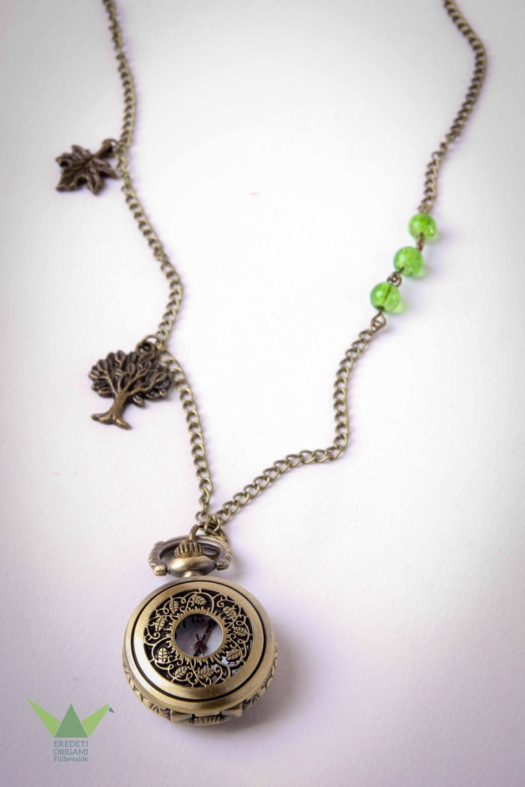 green, tree, leafe, necklace pocket watch