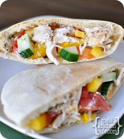 Greek Chicken Pita Pockets (Slow Cooker) | Recipe