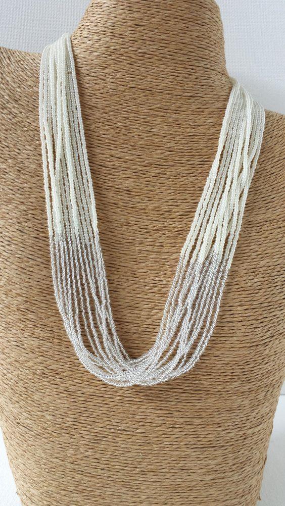 Blanc collier collier mariée collier blanc par StephanieMartinCo
