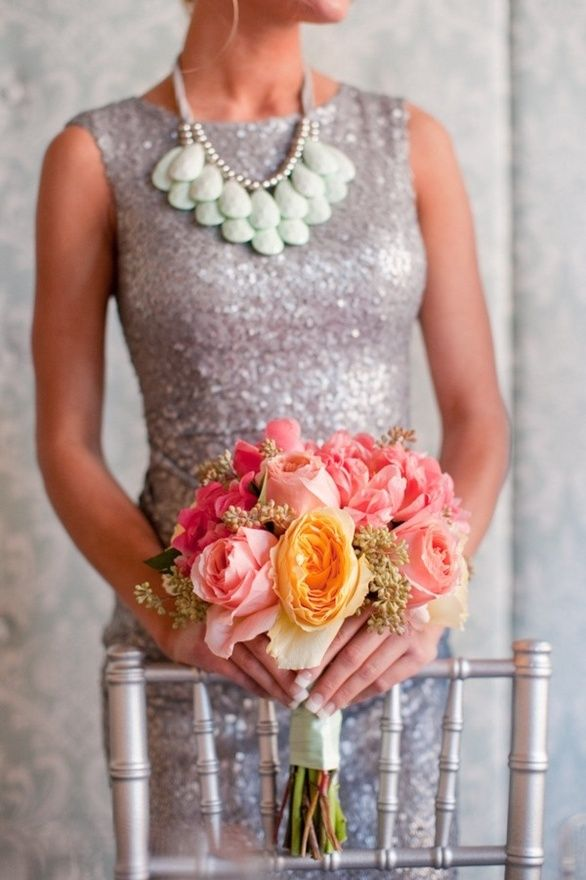 .: Bridesmaids, Idea, Statement Necklaces, Style, Sequins Bridesmaid Dresses, The Dresses, Bold Colors, Flower, Rehear Dinners