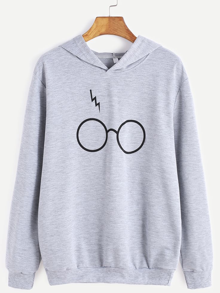 15$  Buy now - http://dixub.justgood.pw/go.php?t=15076 - Grey Eyeglass Print Hooded Sweatshirt 15$