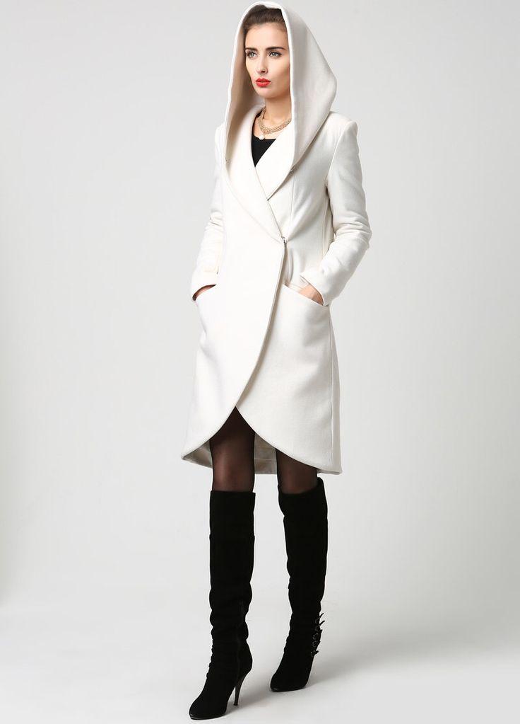 Lana Midi cappotto da donna con cappuccio in inverno bianco (1119) di xiaolizi su Etsy https://www.etsy.com/it/listing/203008648/lana-midi-cappotto-da-donna-con