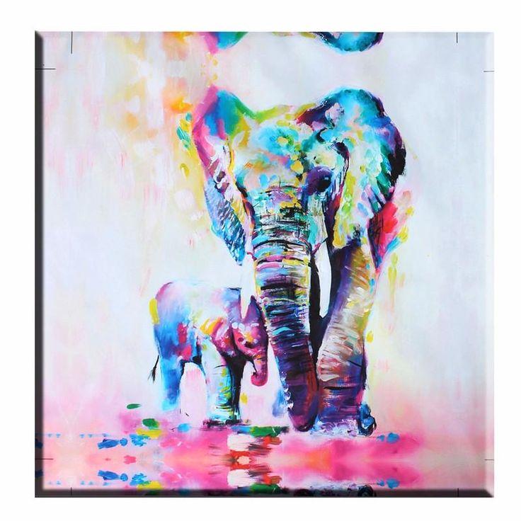 Pinturas Cuadros Lienzos de pared sin marco decoración casera moderna del arte abstracto de la pared Imagen animal elefante Dormitorio Sala Marco