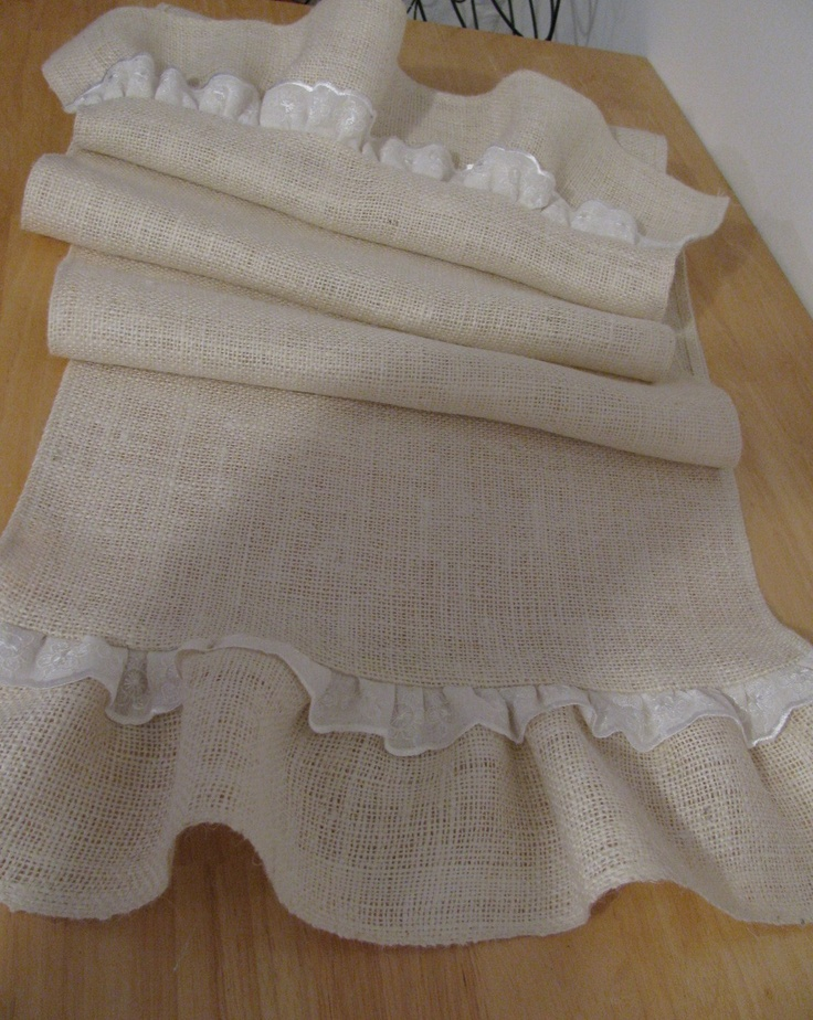 Ruffled Burlap Table Runner  with Lace 15 X 96 inches. $38.00, via Etsy.