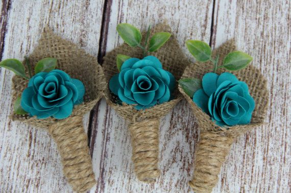 Dark Turquoise Boutonniere Rustic by SpruceandHemlockco on Etsy