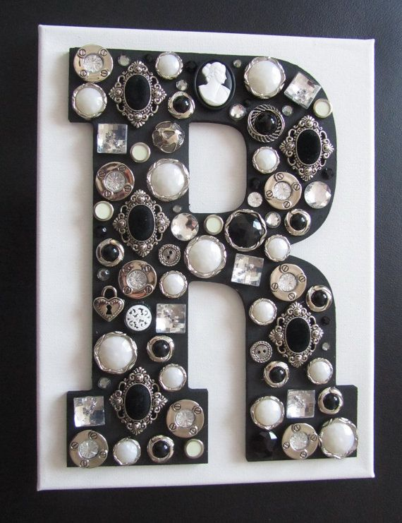Wooden Letter with Button - Monogram Wall Art. And another I like. Not for the boys either. I just like.