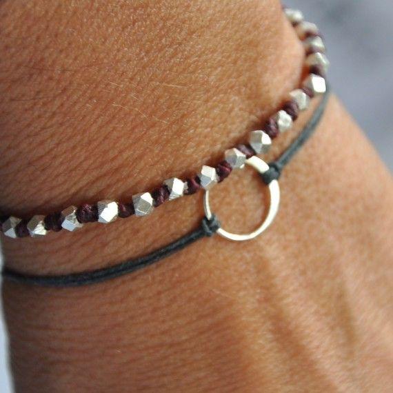 sterling silver karma bracelet. Gray Irish linen cord
