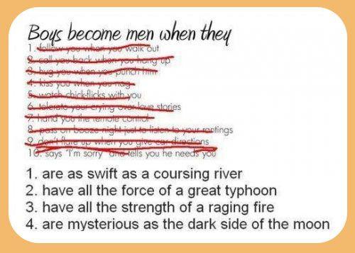 Boys become men when…