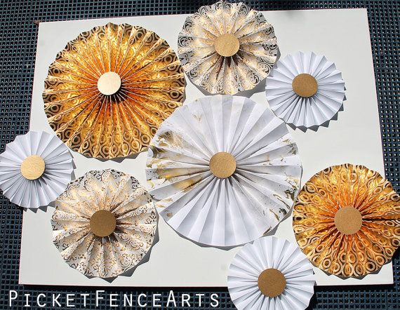White and Gold Paper Rosettes Paper Fans by PicketFenceArts