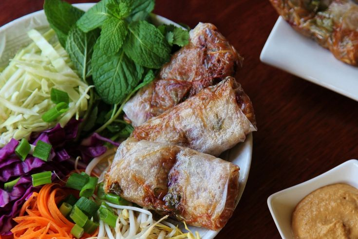 Vegan Baked Rice Paper Rolls with Cashew Dipping Sauce