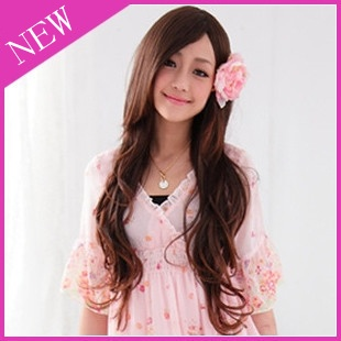 Elegance Inclined Bang Fluffy Long Curly Wig Wigs