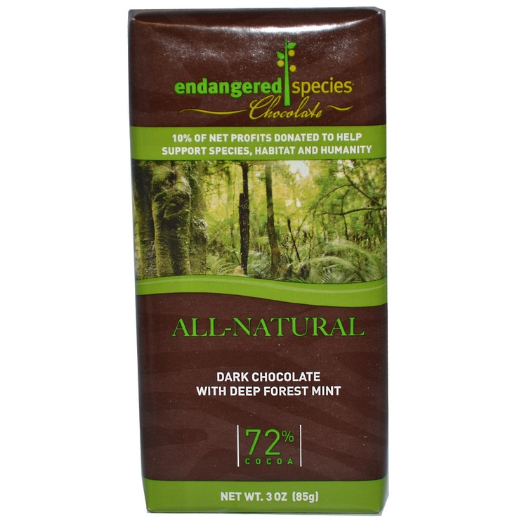 "Review: Endangered Species Chocolate, Dark Chocolate with Deep Forest Mint, 3 oz (85 g)    If you are a fan of dark chocolate and mint, then this is a winner combo. This chocolate taste good, and it's a great healthy ""snack"" to go with your morning coffee. Also a great gift idea. There isn't too much cocoa (72%), and I'm sure other than dark chocolate fans would like this. It's also from all natural ingredients."