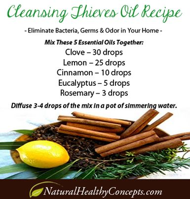 Theives-Oil - 6 ways to purify your home naturally, I normally buy a Thieves Oil, but am going to try making it on my own since I use it for EVERYTHING!!!