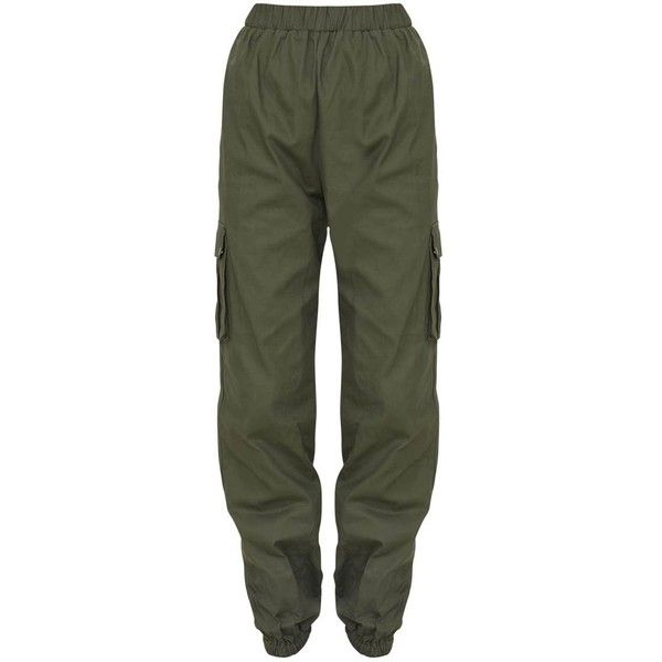 White Pocket Detail Cargo Trousers (2.255 RUB) ❤ liked on Polyvore featuring pants, cargo pants, khaki pants, khaki trousers, cargo pocket pants and cargo trousers