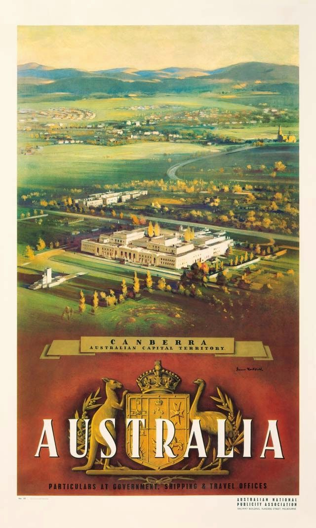 1950s Canberra, Australia poster by James Northfield - ART & ARTISTS: Vintage Travel Posters - part 3