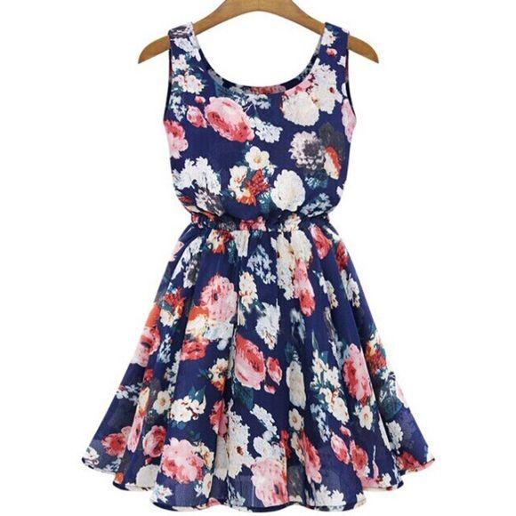 "Floral Scuba Dress Floral Scuba Dress -Sleeveless -Bust: 34""  -Shoulder: 13.25""  -Length: 26""  -Collar: U-neck -Material: Chiffon -NWOT - Unbranded item Alyssa Carrick Dresses Mini"