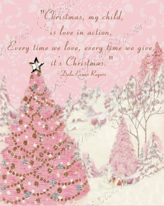 Christmas is Love in Action:  A Pink Winter Fine Art Print with Dale Evans Quote, Retro MidCentury Holiday Decor for the Cottage Chic Home