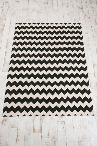 rug option 1: zig zag rug urban outfitters black and white -- if only this came in bigger sizes