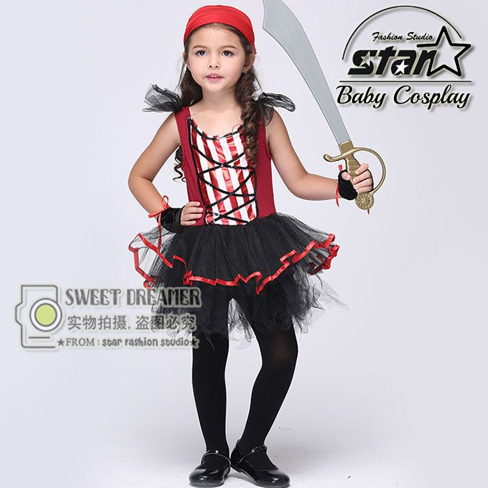 >> Click to Buy << Cute Funny Baby Girls Dress Halloween Cosplay Costume Striped Pirate Kids Cosplay Dresses Kids Clothes Costumes Menina Vestidos #Affiliate