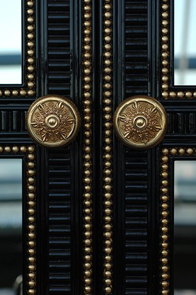 Doors finished with gold and lacquer molding + nailheads at The Ritz Carlton Penthouse Istanbul. DIY inspiration
