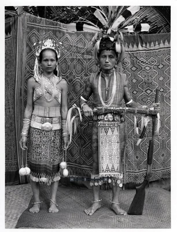 Wedding day of a high ranking Iban couple. Photo by German photographer Hedda Morrison, Sarawak, Malaysia, 1950.