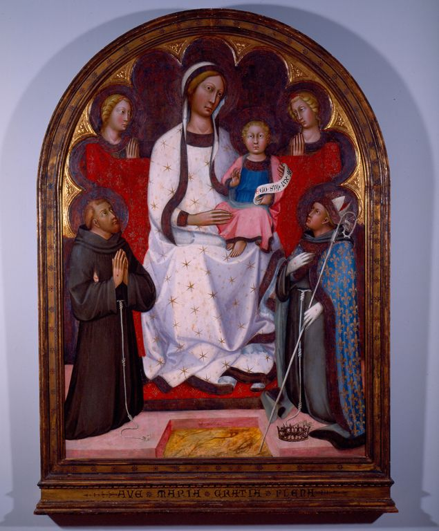 """""""Madonna and Child with Two Angels, St. Francis and St. Louis of Toulouse"""", Paolo di Giovanni Fei, c. 1375, High Museum or a Art"""