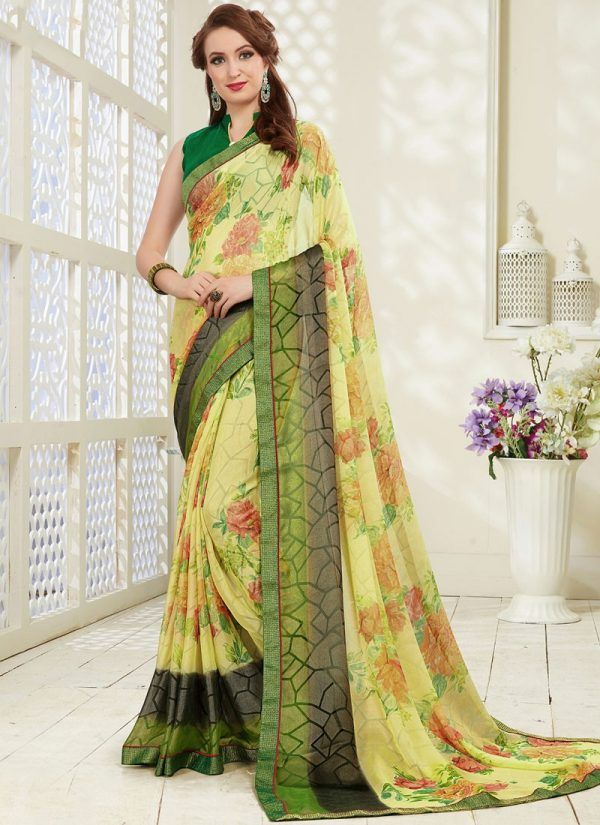 0abb204f93 Multi Colour Abstract Print Brasso Printed Saree in 2019 | Sarees | Floral print  sarees, Casual saree, Printed sarees