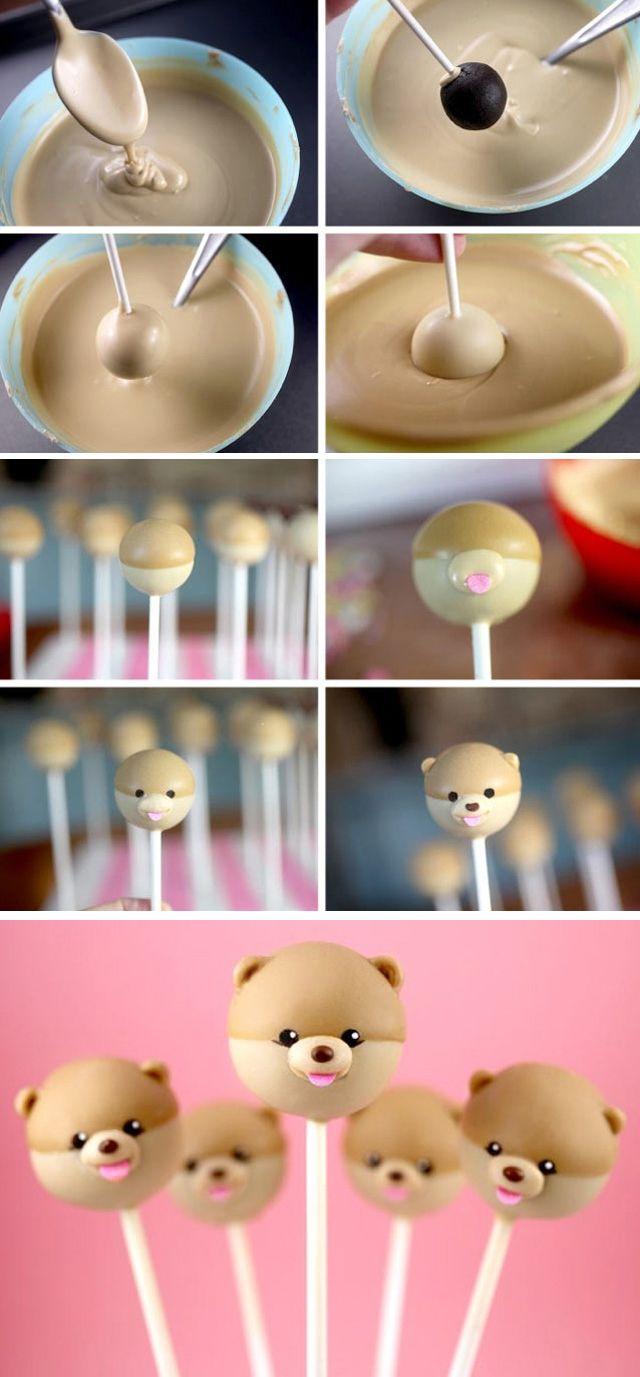 Cakepop fofo, feito com bolo de chocolate e cobertura de chocolate branco com anilina. #comidinhas #inspiração