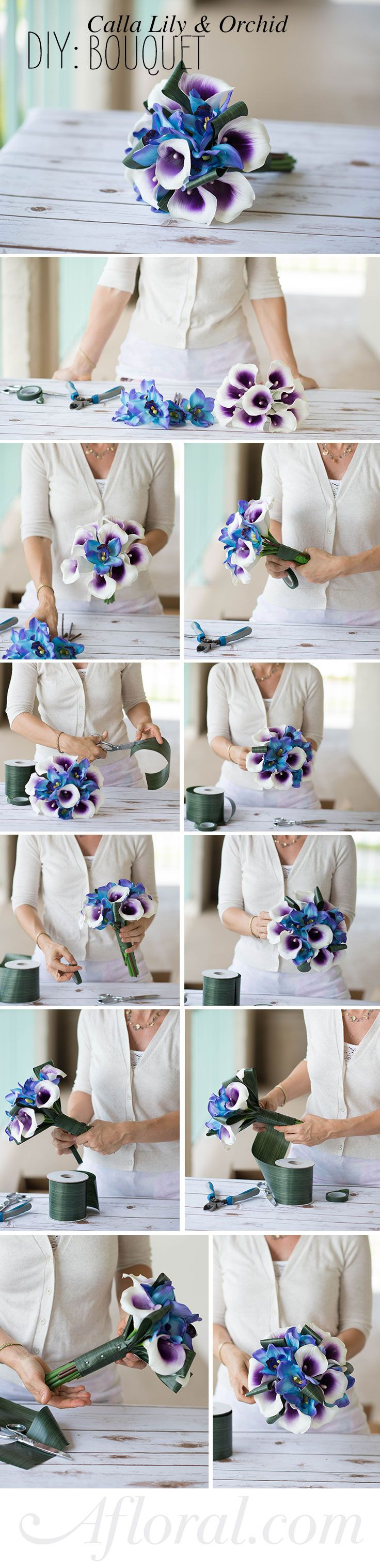 DIY Bridal Bouquet.  Create this gorgeous silk flower bouquet, perfect for a destination wedding.  Start with a premade Calla Lily bouquet and add your favorite flowers.  We used orchids for a more tropical feel.  Clip the flower blooms off of the stem and attach them to floral wire using floral tape to insert into the premade bouquet.  When you are happy with your design, secure with floral tape and cover the stems with faux leaf wrap.  Designed by WedIdeas.com with products from…